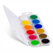 Watercolor paints, brushes and blocks for painting