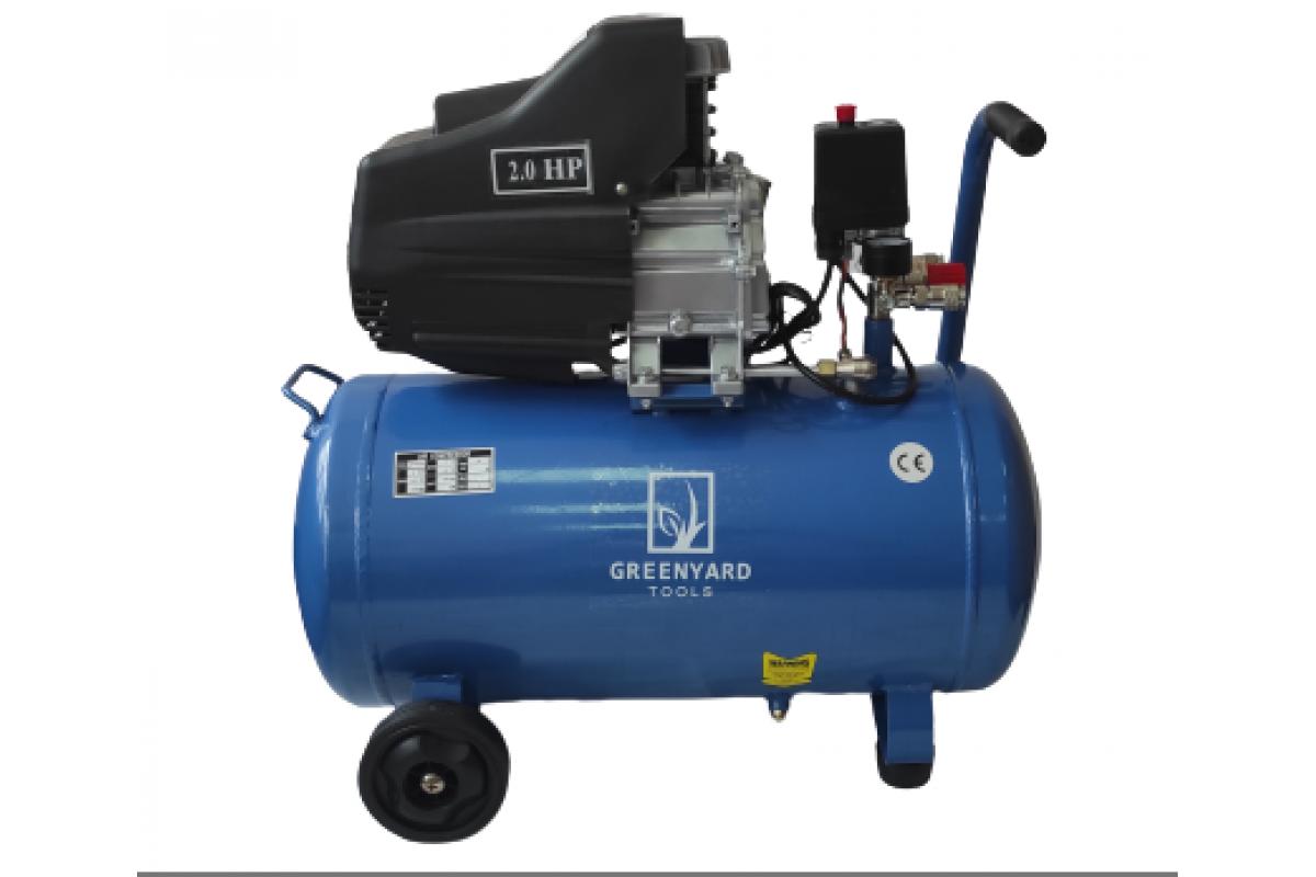 Air compressor Greenyard Tools - GY-AC50 Blue - two manometers - tank 50 liters, 8 bar, 178 l / min