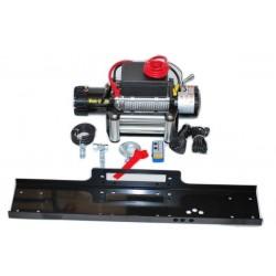 Най-добрата електрическа лебедка за джип и пътна помощ 12 V - 13500 Lbs / 6136 кг. - 4.5 kw - 6 к.с. - стоманено въже 26 метра / 9.5 мм - с включена планка за монтаж - безжично дистанционно - защитен калъф - ръкавици