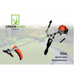 Powerful Motor hair with non-detachable rod GREENYARD - 52 cc, 1.64 kW, 2.2 hp - with cord head - three-toothed disc - shoulder strap