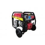 Бензинов генератор 7.5 KW за трифазен и монофазен ток комбинирано с електрически стартер и транспортна количка