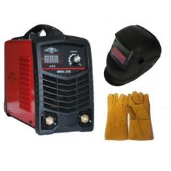 Professional inverter electric MMA250 - IGBT - ARC - 6.7 kVA - 220V - 250 real amps - hot start - digital LED display - solar mask - gloves - electrodes up to 5 mm - high quality - 1 year warranty